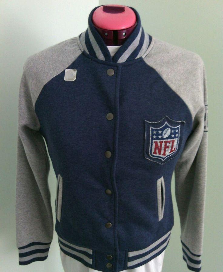 NFL Team Apparel Women s Blue Gray Jacket Fleece Size S Soft Cotton Button Up   | eBay