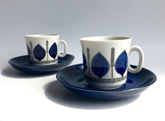 Sweden Gefle  Upsala Ekeby Coffee Cup and Saucer GROBLAD Swedish Midcentury