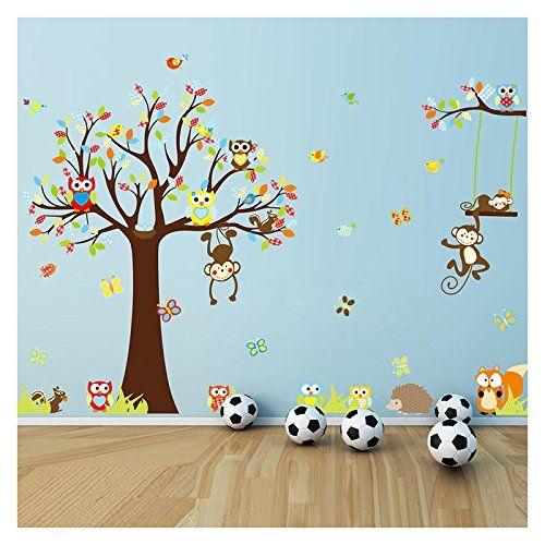 singe sticker mural pour la chambre des enfants  decoration bebe ...