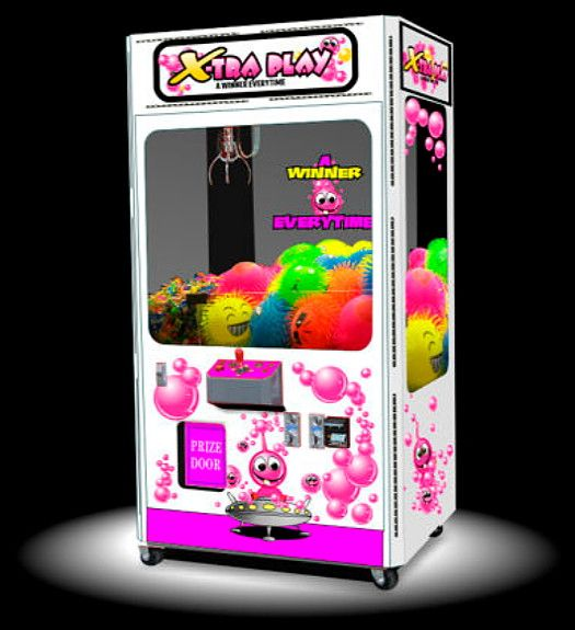The Bubble Crane Merchandiser is a professional attractive attention getting crane and claw machine with a theme that will match most any corporate image. Available in three sizes to fit any location requirement or budget. This machine is equipped with the latest dual electronic coin comparators, bill acceptor and bill stacker. You can expect years of trouble free service. Ideal for most any location especially for arcades, sports bars, restaurants, laundromats, game rooms and more.