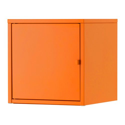 IKEA - LIXHULT, Kast, metaal/oranje, , Helpt je overzicht te houden over kleine spullen als laders, sleutels en portemonnees, of grotere dingen als handtassen en speelgoed. Alles afhankelijk van welke van de 3 kastgroottes je kiest.Hou overzicht over belangrijke papieren, brieven en kranten door ze aan de binnenkant van de kastdeur te bevestigen.De deur kan links of rechts worden afgehangen, kies wat het best bij de ruimte past.