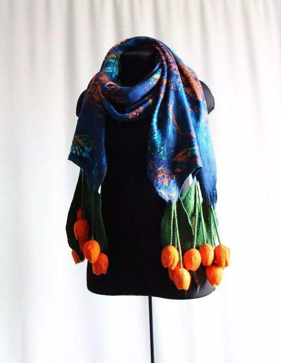 Cobalt Blue and Orange Tulips Merino Wool Scarf by FeltSilkArtGift