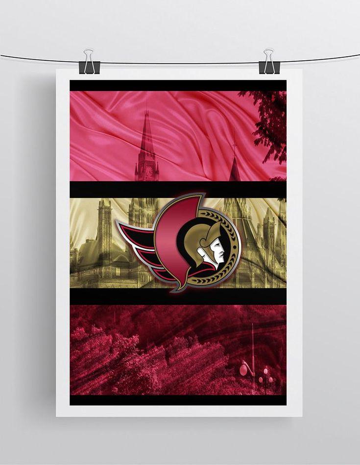 Ottawa Senators Hockey Poster, Ottawa Senators in front of skyline, Ottawa Senators Man Cave Print