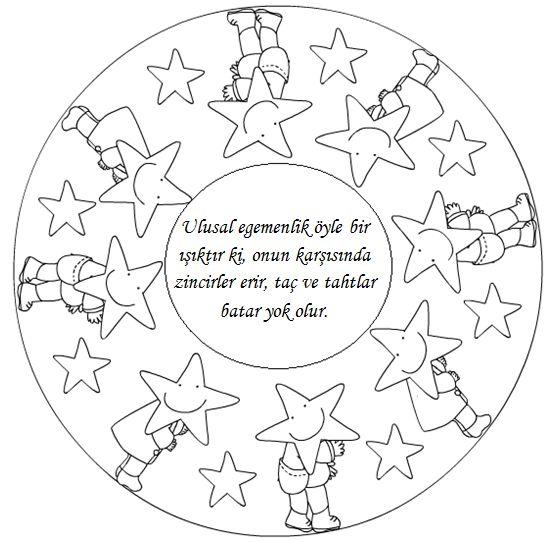 23 Nisan Boyama Sayfalari Mandala School Lessons Coloring Books