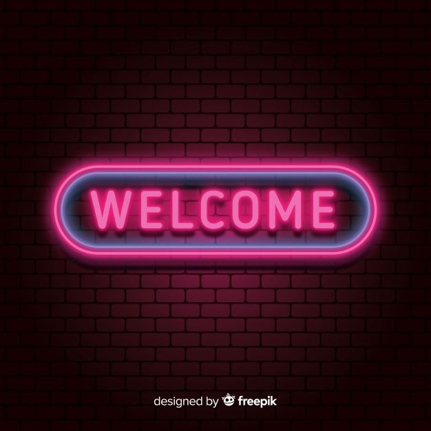 Modern Welcome Sign Post With Neon Light Style Free Vector Neon Lighting Neon Neon Wallpaper