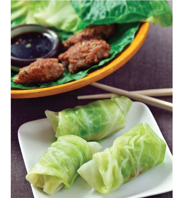 "Double Click Slowly on Pic for Recipe....Low Carb Cabbage Wrapped Pork Pot Stickers   ... by George Stella ...visit us at ""Low Carbing Among Friends"" on Facebook"