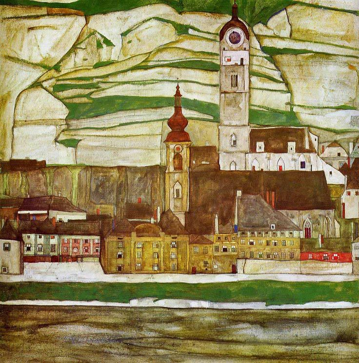 Egon Schiele - Stein on the Danube with Terraced Vineyards (1913)