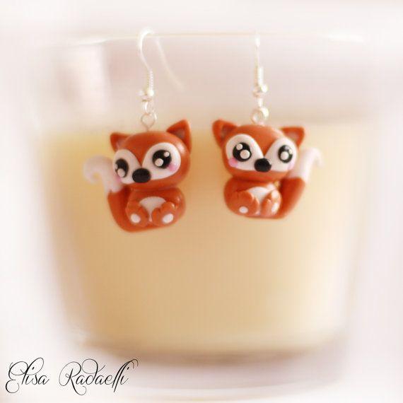 fox earrings polymer clay by ElisaRadaelli on Etsy, €8.00