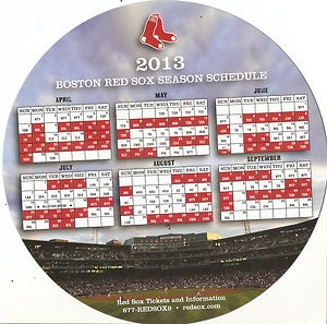 red sox schedule 2013 | Fithteen 15 2013 Boston Red Sox Schedule Magnet SGA | eBay