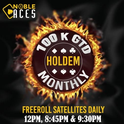 Nobleaces announces it's new tournament structure. Apart from Daily Guaranteed Tournaments of 1K, 3K & 5K ( FREEZOUTS ) we will be offering weekly tournaments of 50K GTD (Hold'em) (500+50) & 15K GTD (PLO) (500+50) every Saturday. Also, every month we will organize a 100K GTD Hold'em (1000+100) Tournament. A single re-entry is allowed for the first two hours in the weekly & monthly tournaments. Everyday you can play 11 FREEROLL SATELLITES for these tournaments. The guarantees have been…