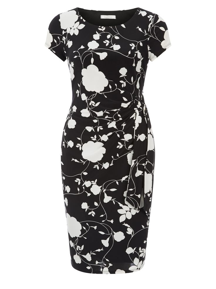 This jersey dress features an all-over mono floral print. It has capped sleeves, a high round neckline and tie knot detailing on the side of the waist for a flattering finish.