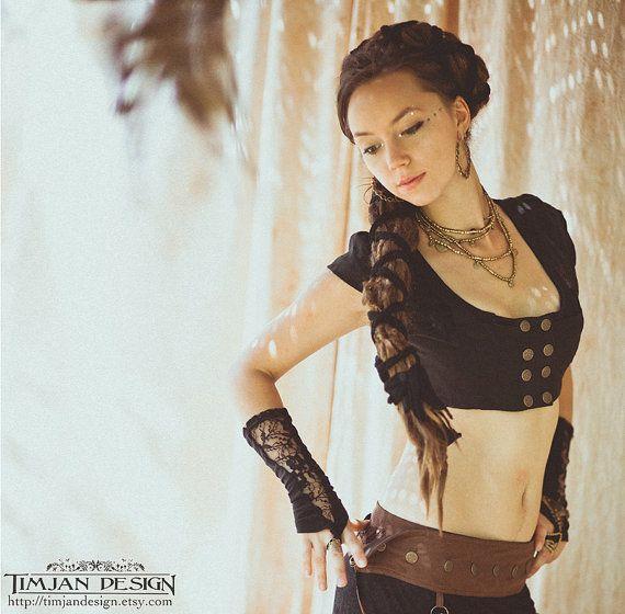 CROPPED LINEN VEST - Steampunk Waist coat  - Tribal belly dance Hippie Boho Steam punk Pixie Fairy - Black - xs/s $61.80
