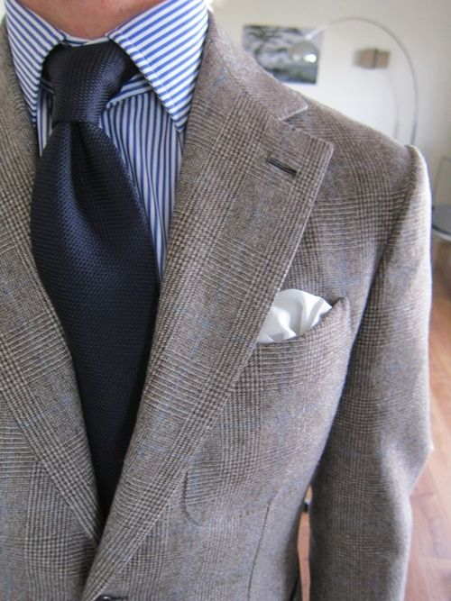 Beige Suit Blue Striped Shirt Mode Homme Mode