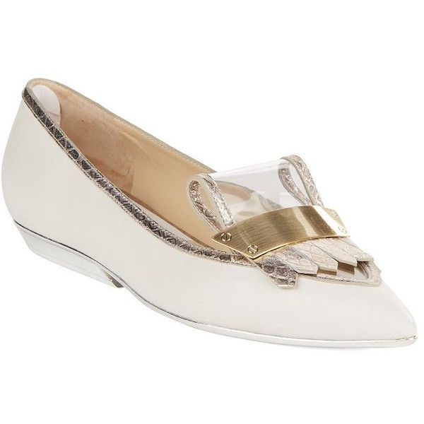 Pollini Balleri Metallic Flats ($225) ❤ liked on Polyvore featuring shoes, flats, beige, metallic shoes, beige shoes, pollini shoes, pointy toe shoes and metallic flat shoes