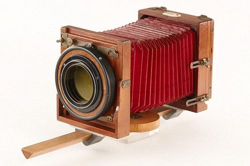 The original monorail  camera designed for Heinrich Kühn and used by the artist for many years until he passed away in 1944, 70 years ago. The camera is still in good and complete condition with the original ivory nameplate engraved 'HEINRICH KUEHN INNSBRUCK' attached to the top.