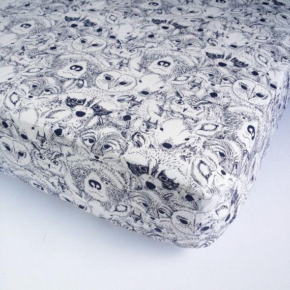 Woodland Baby Bedding - Fox Crib Sheet / Navy Nursery Bedding / Changing Pad Covers / Mini Crib Sheets / Baby Sheet by Babiease