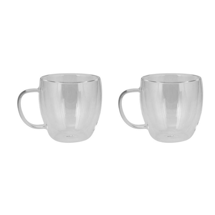 Haus 8.5 oz. Double Wall Glass Coffee Cups (Set of 2), Clear