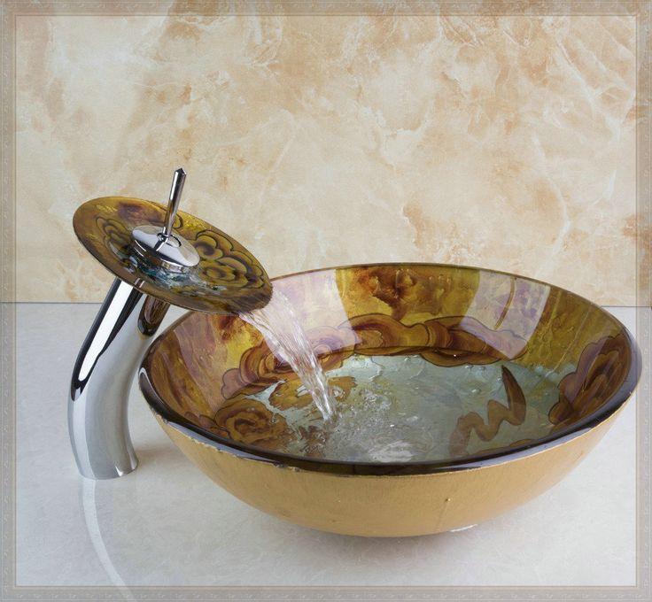 Дешевое 4218 1 живопись круглый ванная комната искусство умывальник благоприятный облака закаленное стеклянный сосуд раковина с водопадом хром смеситель установить, Купить Качество Запчасти для ванных непосредственно из китайских фирмах-поставщиках:            &