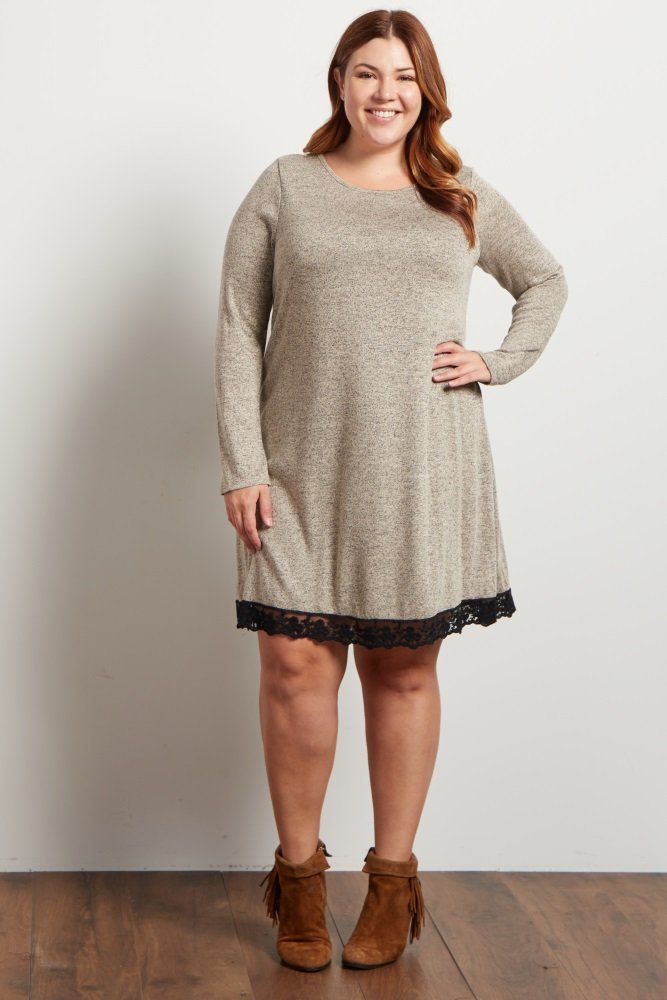 This maternity sweater dress is the ultimate cold weather essential this season. Dress it up or down for any occasion. This dress features a crochet hemline that adds a romantic touch. Style with leggings and boots for a casual look or dress it up with tights and heels for a night out.