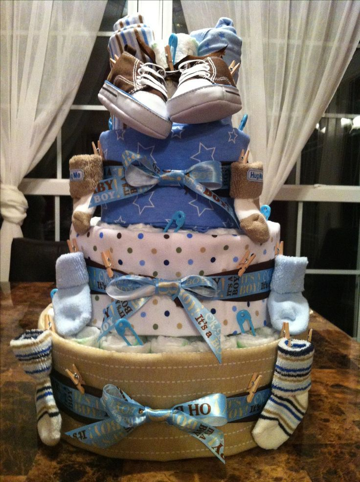 Diaper cake for baby boy