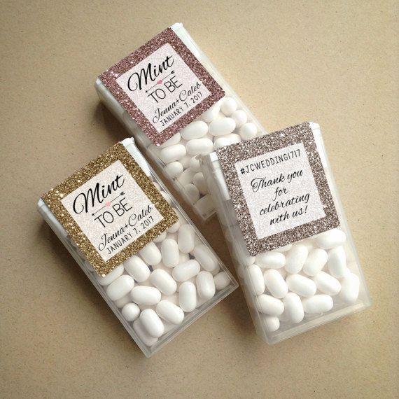 Glitter & Sparkle Mint to Be Wraparound Tic Tac Wedding Favor Labels • Glitter Mint to Be Favor Labels