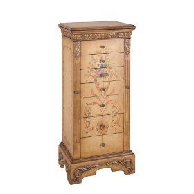 Powell Masterpiece Handpainted Wood Jewelry Armoire, Antiqued Parchment $320.00