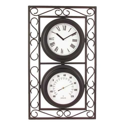 Outdoor Clock And Thermometer Yard Garden Mantle