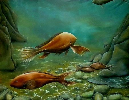 Imaginary Realism, Painting, fantasy, imagination, fish, fishes, pair, couple, sea bed, sea, bottom, underwater, deep, sea, ocean, sandy, stones, reefs, life, wildlife, green, brown, art, artwork, fine art, oil painting
