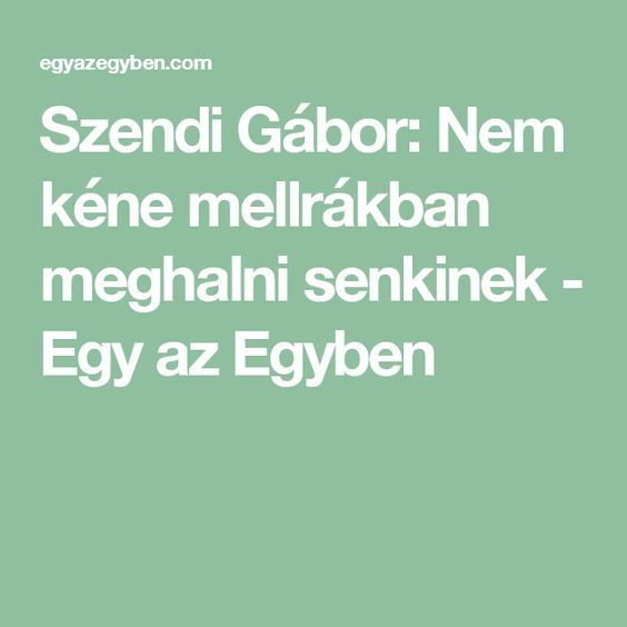 Szendi Gábor: Nem kéne mellrákban meghalni senkinek - Egy az Egyben