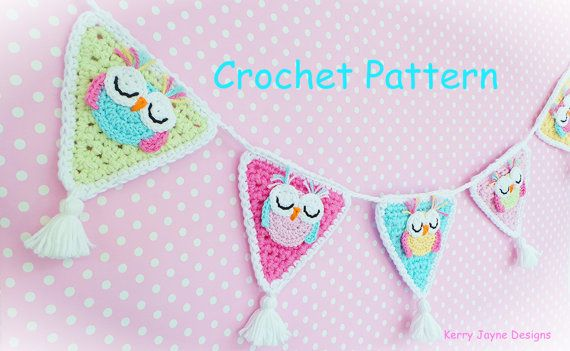 New! Unique Crochet pattern! The Sleepy Owl Nursery Bunting/Garland. CROCHET PATTERN ONLY (not the actual item) - Level - Easy/Advanced