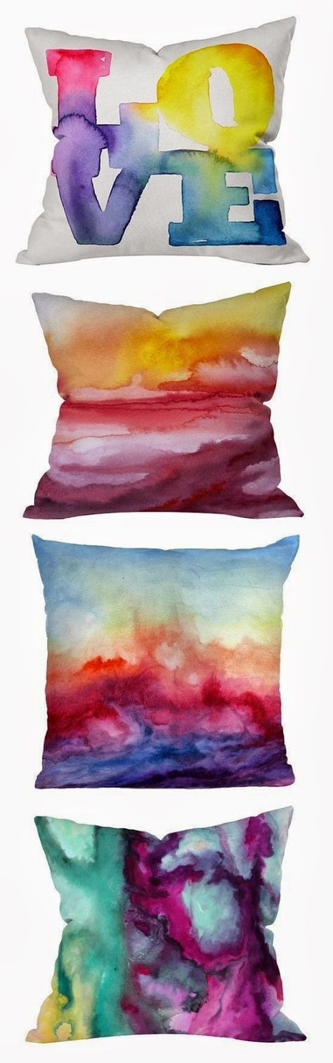 For these pillows, doodle with sharpies on canvas and then spray with rubbing alcohol. :)
