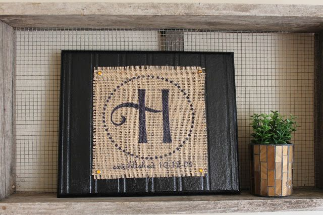 Find it, Make it, Love it: Printed burlap monogram Print or paint Mod Podge Wood No beadboard?  Use beadboard wallpaper!  easy-peazy!  :)