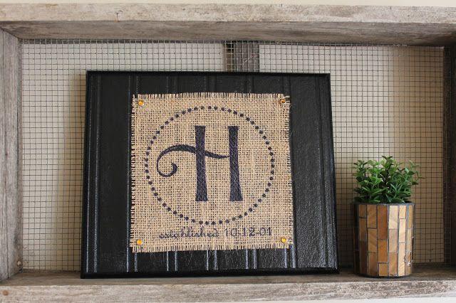 Find it, Make it, Love it: Printed burlap monogram Print or paint Mod Podge Wood No beadboard?  Use beadboard wallpaper!  easy-peazy!  :)