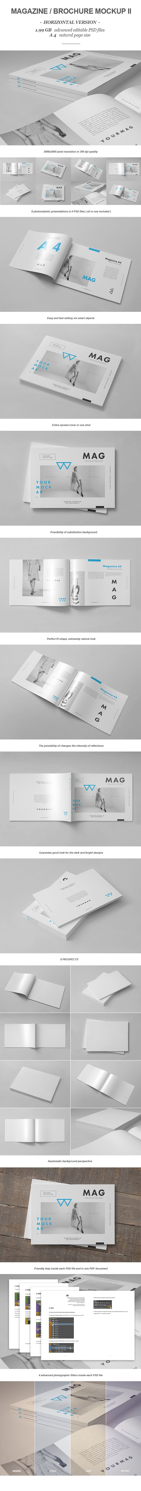 Horizontal Magazine Brochure Mock-up II by yogurt86 Design Studio, via Behance