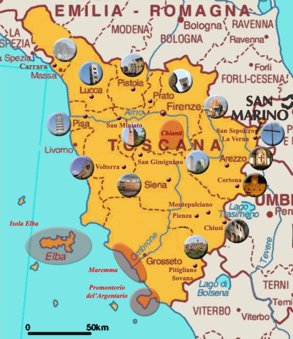 Clickable Map Of Tuscany Region In Italy Main Cities And Places In Tuscany Photographs History Tourism And Hotels