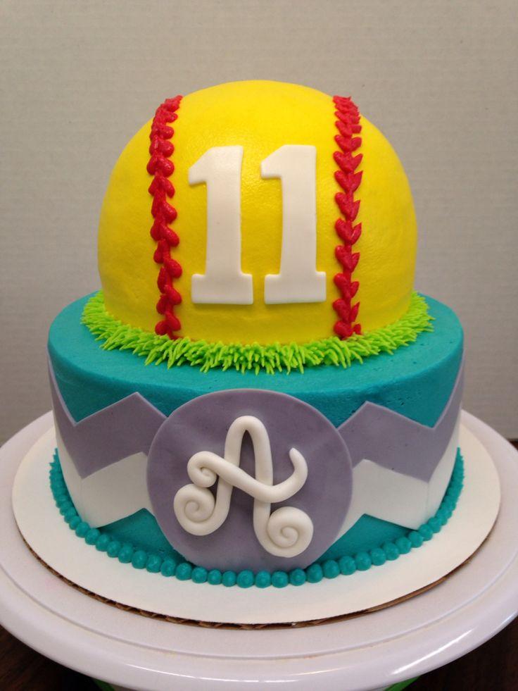 Softball & Chevron Stacked Cake