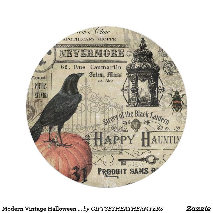 Modern Vintage Halloween pumpkin and crow 7 Inch Paper Plate  sc 1 st  Pinterest & 12 best PAPER PLATES CUSTOM DESIGNS GREAT FOR PARTIES images on ...