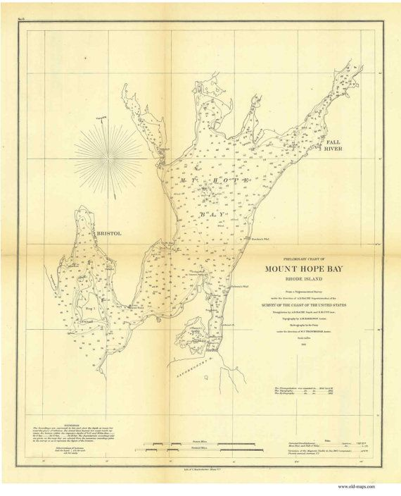 A charming antique map of Mount Hope Bay. This map is part of the U.S. Coast Survey. Original size: 17 x 21 Printed on high quality bond paper.