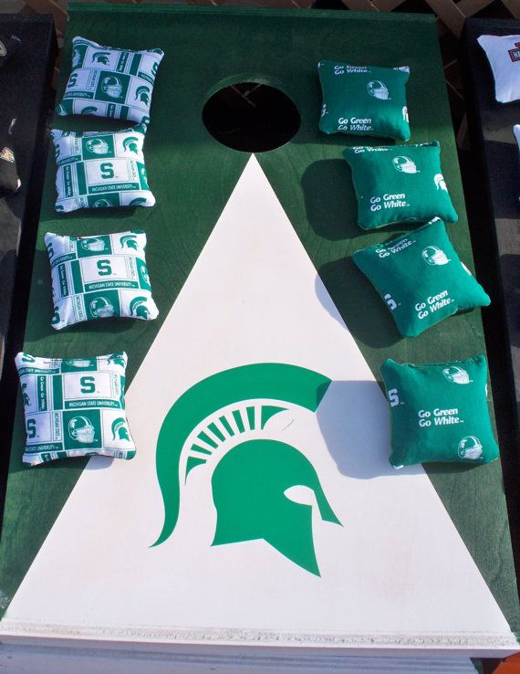 Michigan State MSU Cornhole Boards with bags by CornholeWorld, $110.00. REPIN or CLICK to link into my etsy store. Use coupon Code sawitonpinterest at the end of ETSY purchase and save 10%. HURRY SALE ENDS SOON and only available through pinterest.