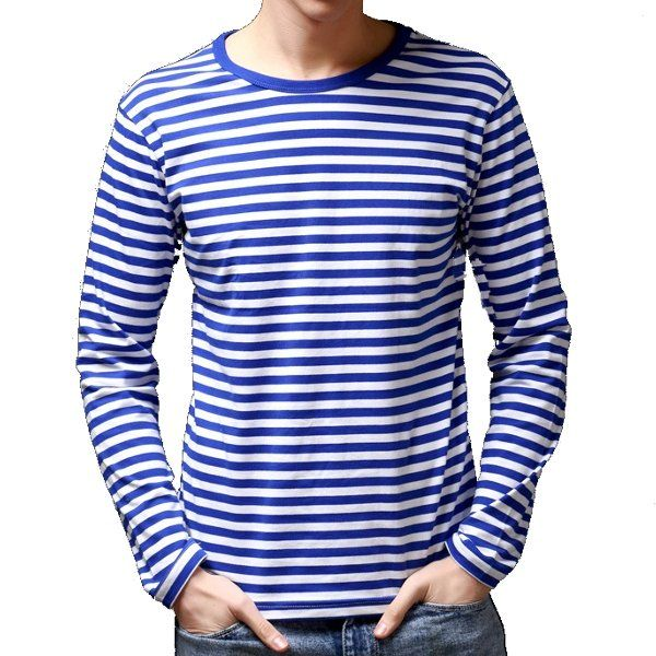 Slim Fit Sailor's Striped Shirt Long-Sleeved T-shirt for Men