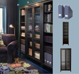 Ikea Black Brown Hemnes Bookcase With A Glass Door Cabinet