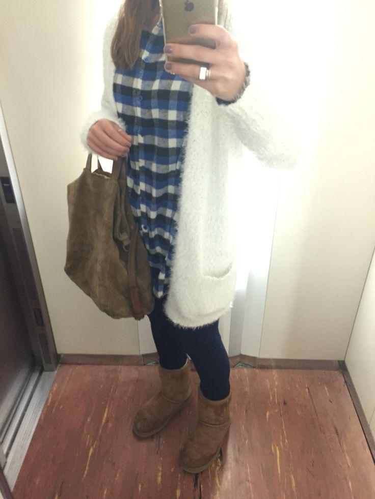 Chaqueta peluche Primark, camisa larga cuadros Primark, jeans azul marino Stradivarius y botas Ugg's!