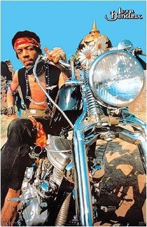 Jimi Hendrix & his chopped 1964 Harley-Davidson Panhead.   Legendary musician on a legendary Harley.