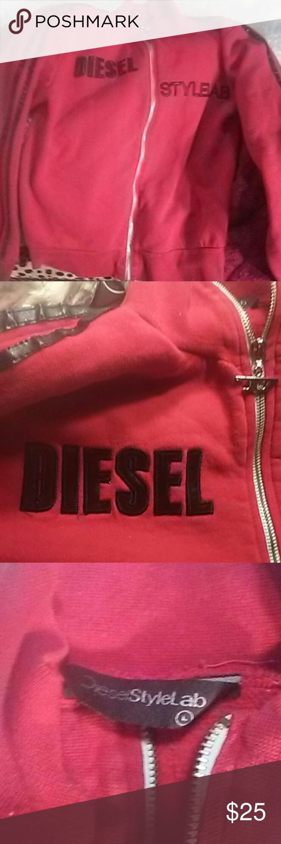 Diesel Style Lab This is an awesome cherry red with like a leather-look down the sides of the arms and on the side of the shoulders all the way down and then the diesel Style Lab in the front as in leather look too the way that it's printed 100% authentic still tagged but ripped out the bottom ones because it was making me itchy very loved but time to Let It Go price is firm great deal Diesel Tops Sweatshirts & Hoodies