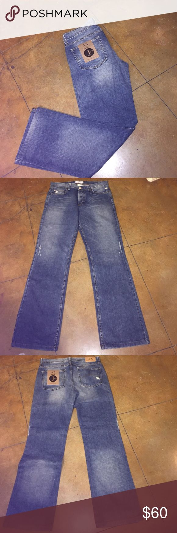 Armani Exchange Boot Leg Jeans J101 New boot leg low rise relaxed through thigh.  Jeans are 33 x 34 A/X Armani Exchange Jeans