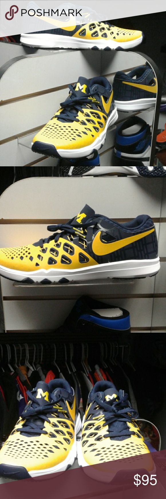 Nike Air Vapor Max Michigan Wolverines shoes 9.5 Brand new never worn university of Michigan Wolverines authentic officially licensed Nike and NCAA product size 9.5 Ship's same day as purchase Nike Shoes Athletic Shoes