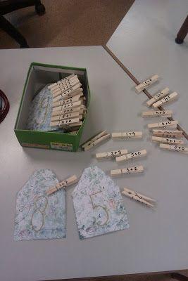 Rekenspellen: Splitshuisjes met knijpers