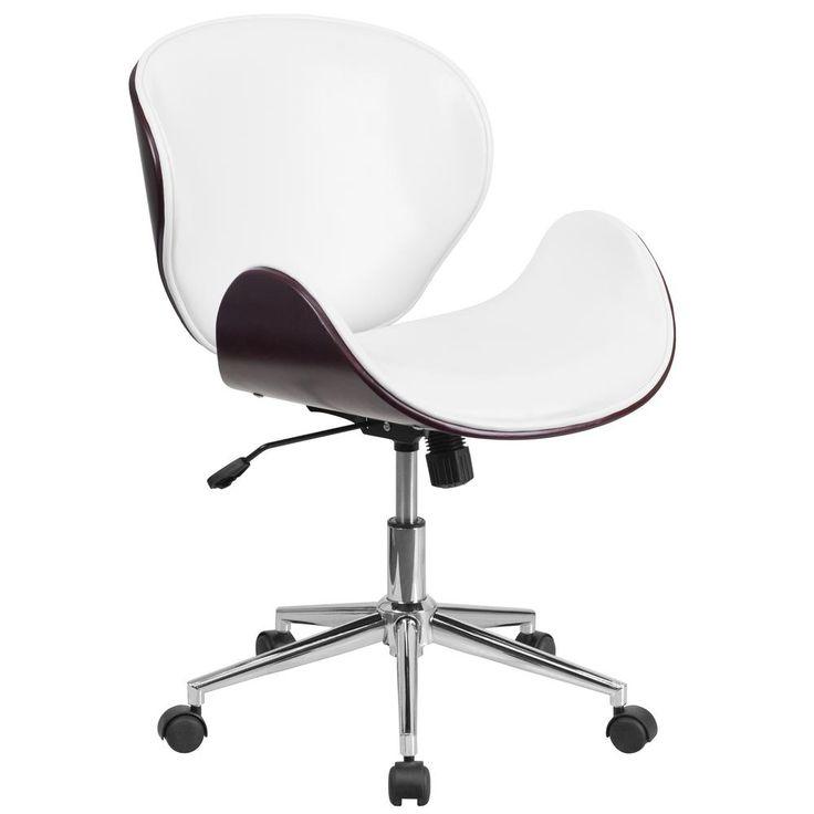 Mid-Back Mahogany Wood Swivel Conference Chair in White Leather, White Leather/Mahogany Frame
