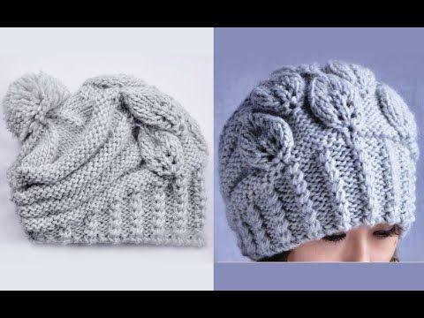 "Вязание шапки спицами ""Листочки"". How to Knit a HAT. Link download… alın detaylı bere örneği videosu"