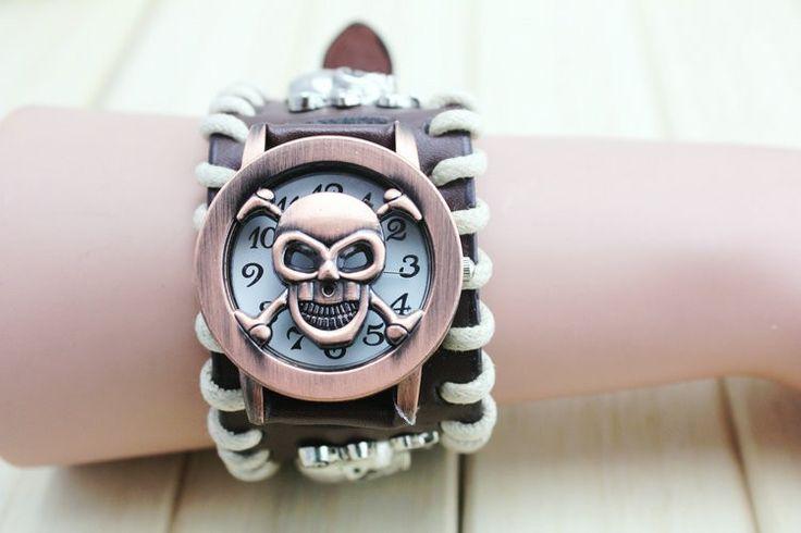 Leather Rope Black Bracelet Skull Watch //Price: $87.69 & FREE Shipping //     #skull #skullinspiration #skullobsession #skulls